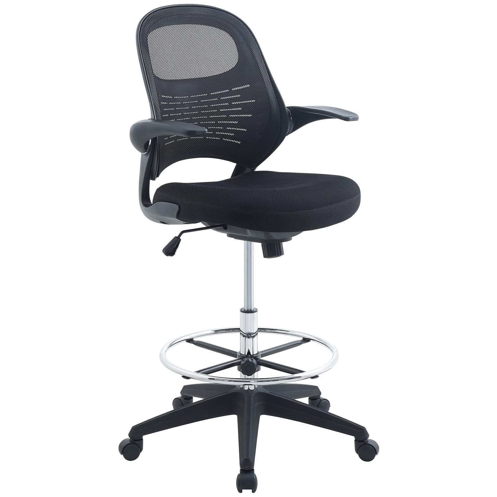 Modway Advance Drafting Stool - Reception Desk Chair - Drafting Table Chair  - Flip-Up Arms in Black