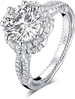 Sterling Silver 2.65ct Brilliant Round Cut Simulated Diamond Cubic Zirconia Vintage Style Halo Bridal CZ Engagement Ring