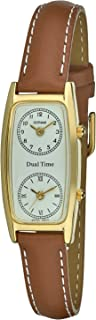 Women's Gold-Tone Dual Time Zone Leather Strap Watch # GWC15091TN
