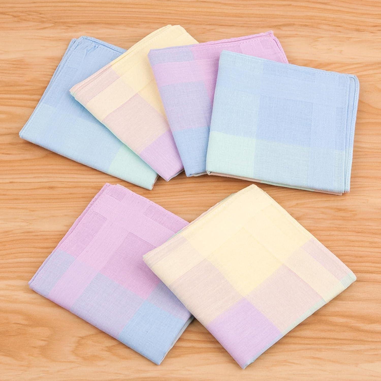 HJJACS 12PCs Mixed Color Plaid Handkerchief Neutral Checked Square Cotton Wipes Colored Plaid Fashion Handkerchief