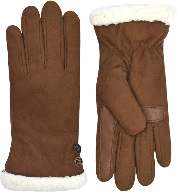 Isotoner Women's SmartDri Sherpasoft Lined Touchscreen Gloves A30006, Congac, Small/ Medium