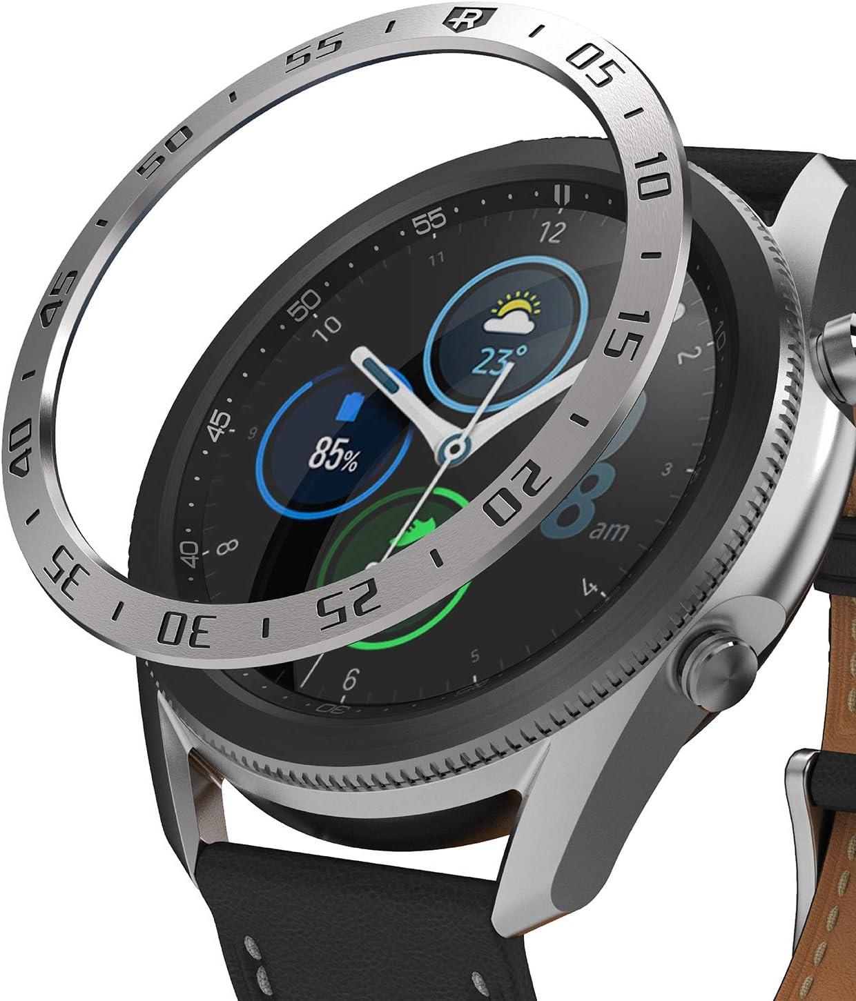 Ringke Bezel Styling Diseñado para Funda Samsung Galaxy Watch 3 (45mm), Carcasa Diseño Elegante Único Acero Inoxidable para Galaxy Watch 3 45mm (2020) - Silver [45-01]