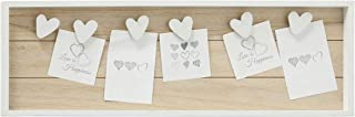 WHW Whole House Worlds Farmers Market Clothespin Memo Board, 6 Heart Clips, Twine Detail, Rustic Ship Lap, Contrast White Frame, Easy-Mount Saw Tooth Hangers