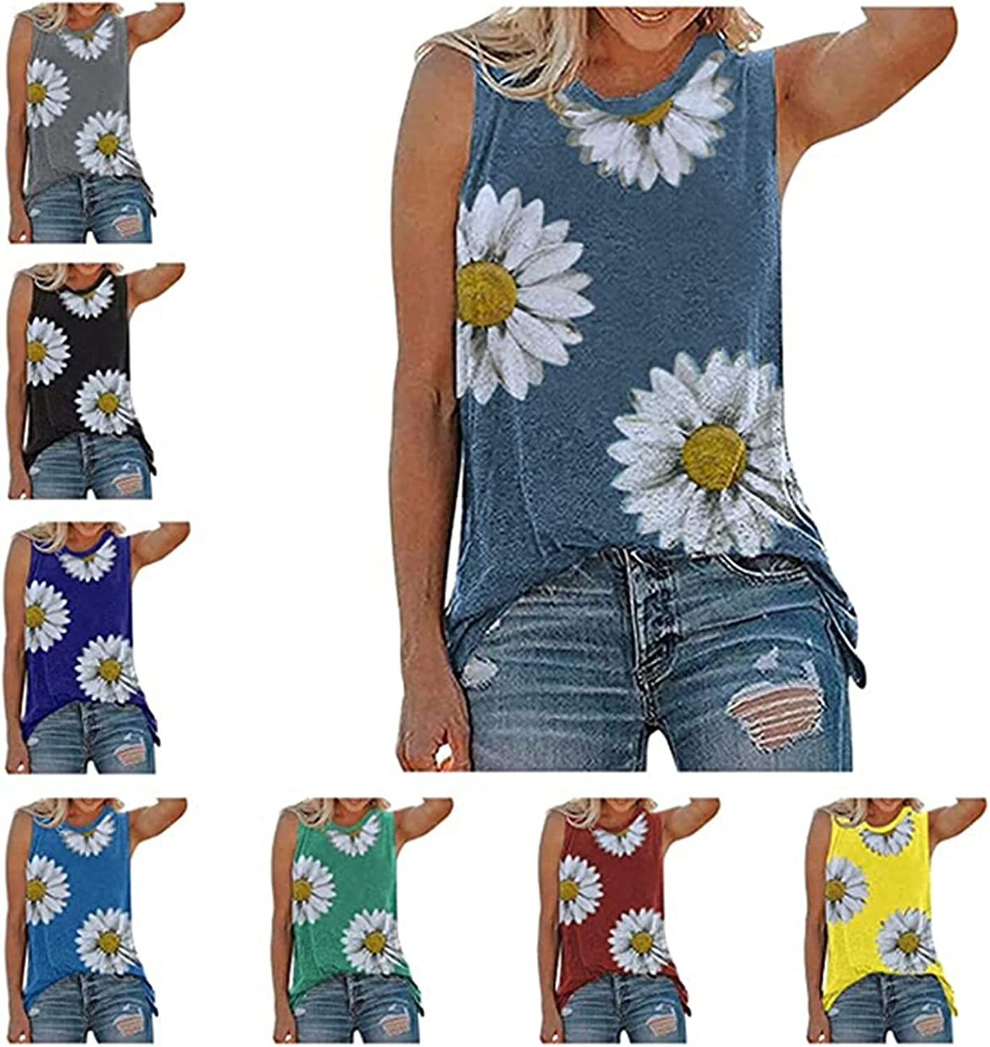 Tank Tops for Women Loose Fit,Womens Summer Tops Casual Loose Fit Plus Size Sunflower Printed Tee Shirts