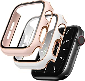 Lovrug 2 Pack Cases Compatible with Apple Watch Case 38mm Series 3/2/1 Built in Tempered Glass Screen Protector Ultra-Thin Bumper Full Coverage iWatch Protective Cover for Women Men (Pink/White)