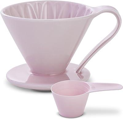 Sanyo Sangyo: cafetera de cerámica de porcelana de 1 a 4 tazas en 5 hermosos colores | Cafetera de goteo única para café con filtro fresco, elegante diseño inteligente: mejor preparación (rosa)