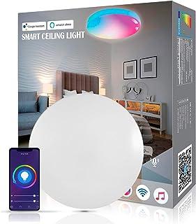 Lámpara de techo LED inteligente, 18 W, 1800 lm, WiFi, Alexa, regulable, con cambio de color RGB, para habitación infantil, salón, dormitorio, compatible con Alexa Google Home, 2700-6500 K