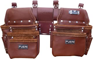 FUERI Professional Leather Tool Belt 4-Piece Heavy Duty Genuine Leather Framer Tool Belt Set with 10 Sliding Pouches and 3...