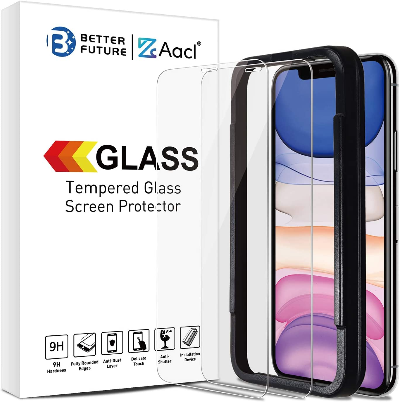 Glass Screen Protector for iPhone 11 Pro Max/XS Max,6.5 Inch,2 Pack,Tempered Glass Film,Not for Full Coverage
