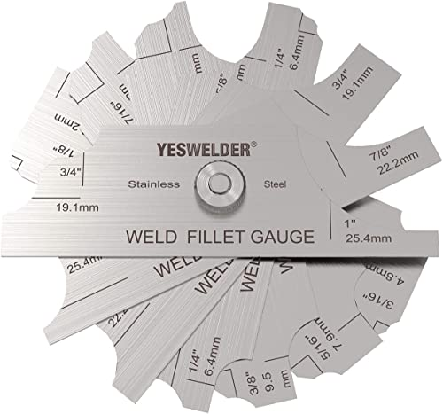 discount YESWELDER MG-11 Metal Weld Fillet Gages Set (7PCS) 1/8''-1'' outlet sale Welding Inspection new arrival Test Ulnar MM & inch outlet sale