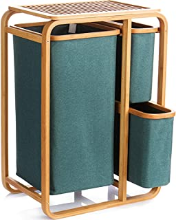 DDHZTA Portable Bamboo avec 3 Panier à Linge Sacs à Linge Extendable, boîte de Rangement Organisateur Hamper Panier, 3 Foi...