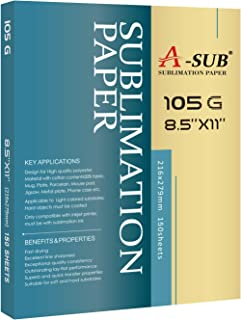 A-SUB Sublimation Paper 8.5x11 Inch 150 sheets for any Inkjet Printer with Sublimation Ink Letter Size