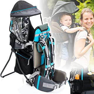 Kindergewicht von 20KG Kraxe Kindertrage Kinder und Baby Carrier von 9 bis 48 Monaten zu Tragen Tragesystem mit St/änder und Sonnenschirm Max