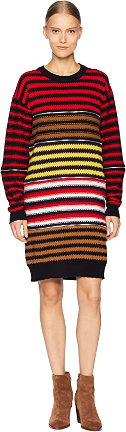 Cashmere Ziggy Stripe Multi Zip Dress