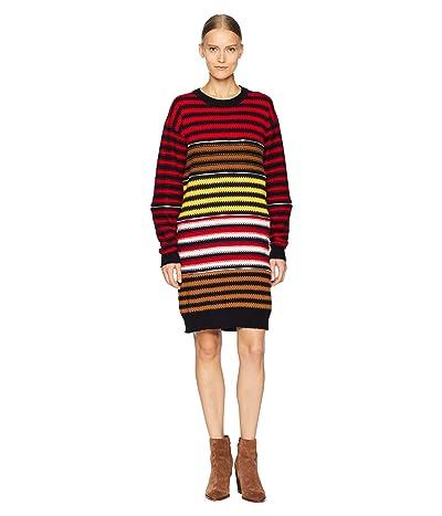Sonia Rykiel Cashmere Ziggy Stripe Multi Zip Dress (Multi Red) Women