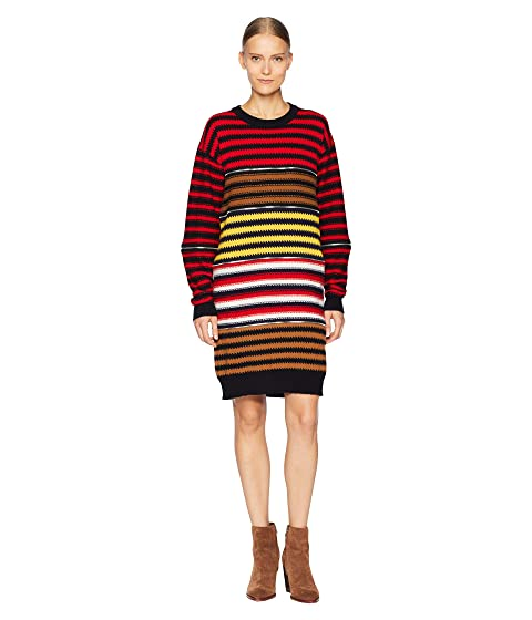 Sonia Rykiel Cashmere Ziggy Stripe Multi Zip Dress