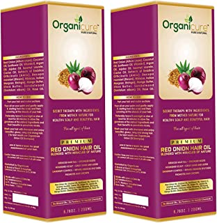 Organicure Natural Red Onion Hair Oil For Hair Growth Dandruff & Hair Fall Control With Argan Castor Bhringraj Brahmi & Herbal Extracts For Long & Strong Hair | Men & Women | Combo Pack of 2