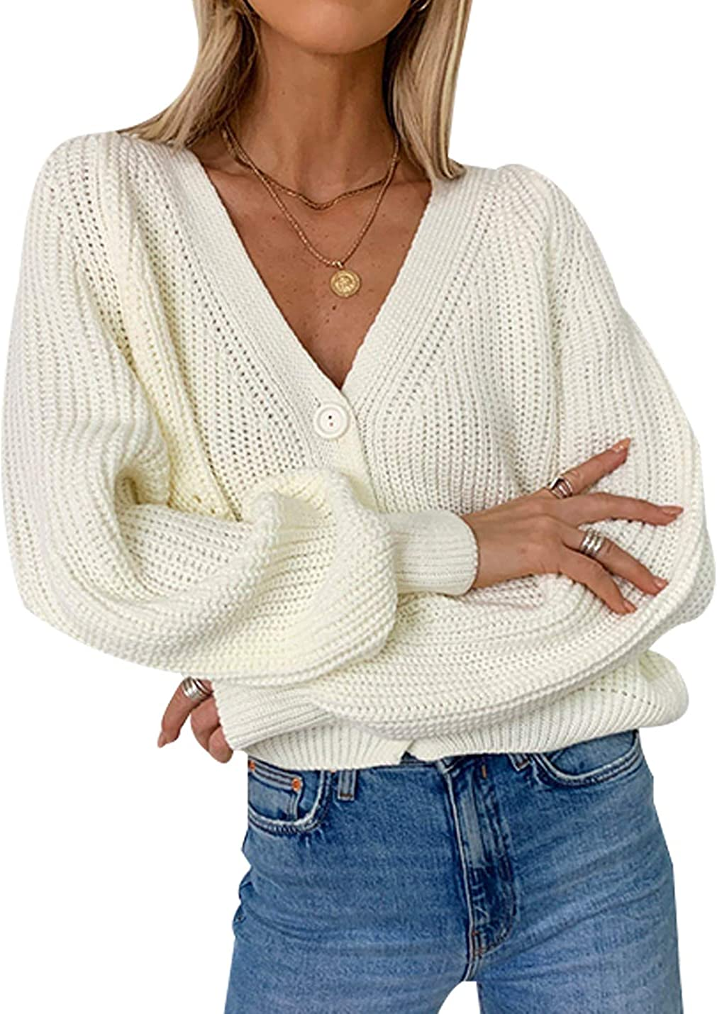 Uaneo Womens Ribbed Knit V-Neck Long Balloon Sleeve Button Down Cardigan Sweaters(White-S)