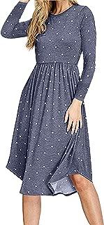 Women Long Sleeve Pleated Polka Dot Pocket Swing Casual Midi Dress