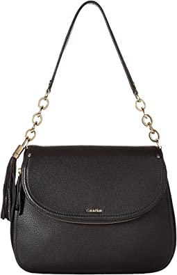 Calvin Klein Lynn Pebble Flap Hobo Shoulder Bag