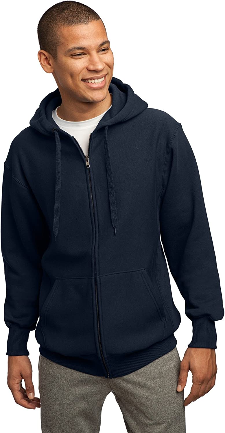 SportTek Men's Super Heavyweight Full Zip Hooded Sweatshirt 4XL True Navy