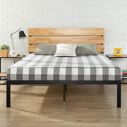 Zinus Sonoma Queen Bed Frame - Industrial Wood Headboard & Metal Platform Bed