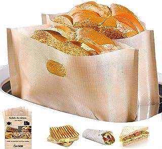 LUXINES - 4 Sacs pour grille pain réutilisables Sacs de cuisson anti-adhésif Sacs pour sandwich panini grillé grille-pain ...