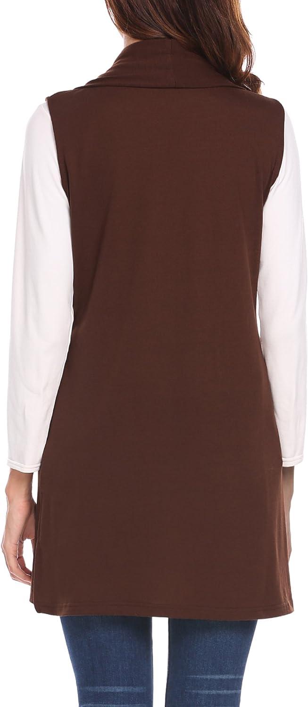 MAXMODA Ärmellose Strickjacke Damen Lang Westen Damen Mantel Jacke mit Seitentasche für Sommer und Herbst A-kaffee
