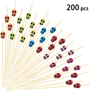 200 Pieces Cocktail Picks Skull Fruit Sticks Toothpicks Sandwich Appetizer Bamboo Sticks for Wedding Birthday Halloween Party Decorations