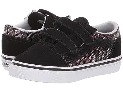 Vans Kids Old Skool V (Infant/Toddler) ((Leopard Mesh) Black) Girl