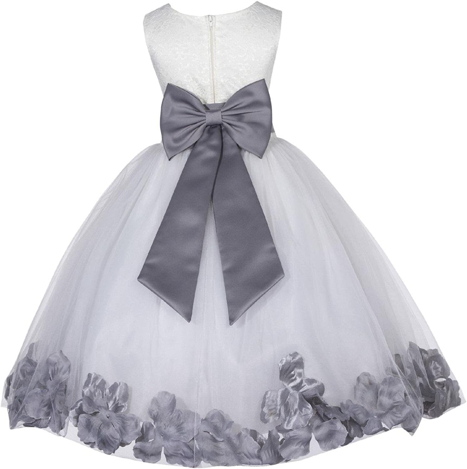 ekidsbridal Lace Floral 2021 spring and summer new Petals Ivory Milwaukee Mall Dress Girl Communion Flower