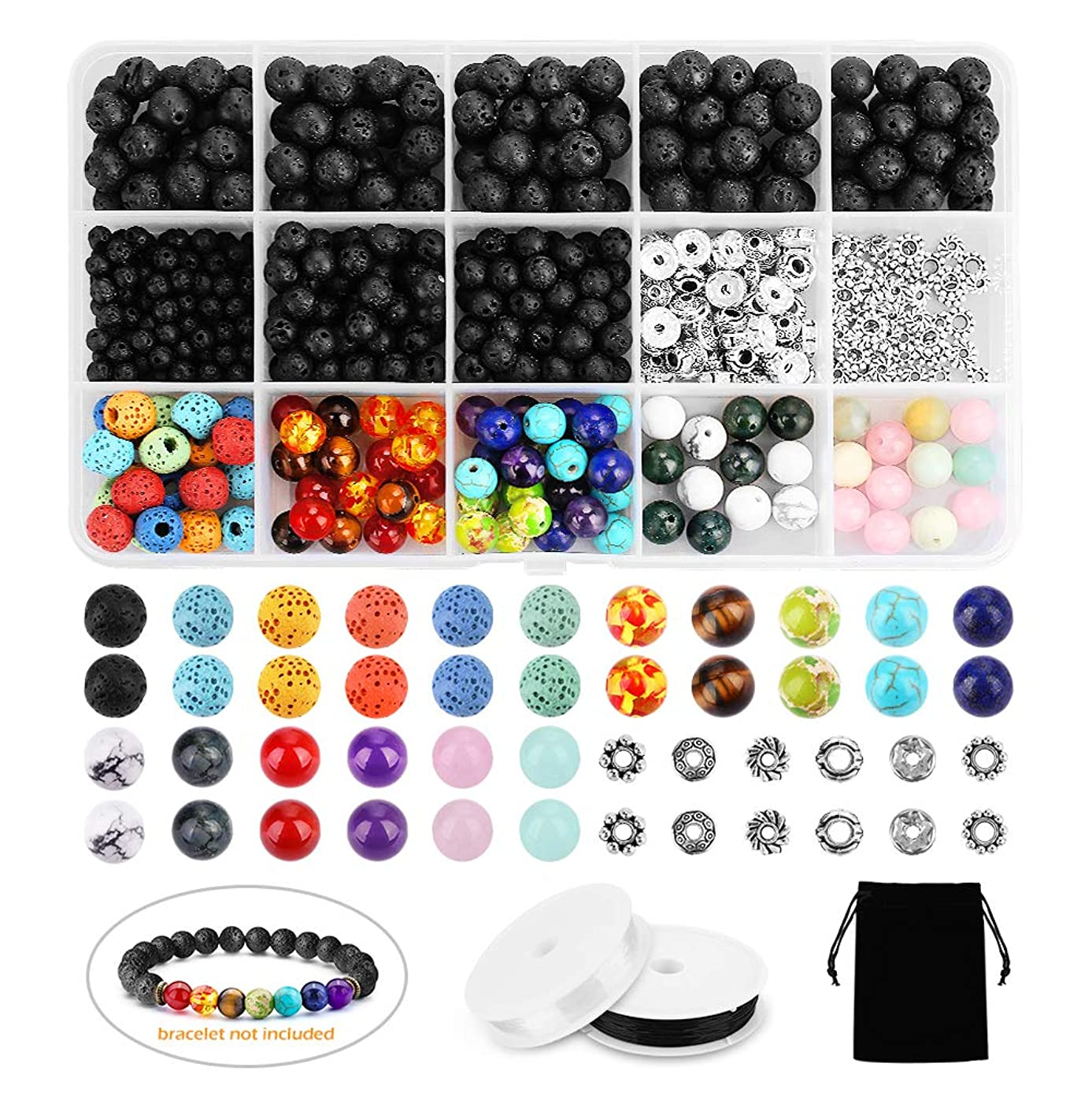 Lava Bead Kit SOLEDI 526PCS Jewelry Making Beads Rock Stone Beads with Chakra Beads and Spacer Beads for Essential Oil and Jewelry Making, Great for Fun DIY Arts & Crafts