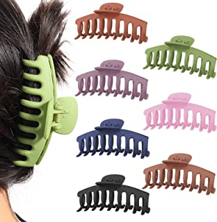 Hippie Soul 7 Pcs Big Hair Claw Clips Non Slip Large Claw Clip 4 Inch Matte Hair Pastel Claw Clips Jaw Clips For Women Gir...