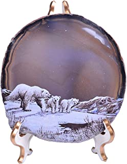 """AMOYSTONE Commemorative Plates with Support 4-6"""" Irregular Agate Decorative Painting Plate Cute Polar Bear Pattern 1 Pcs"""
