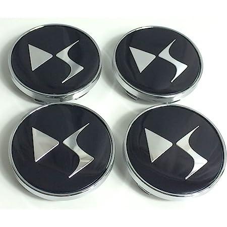 Lot de 4cache-moyeux de 60mm en aluminium avec logo noir et chrome, pour Citroen
