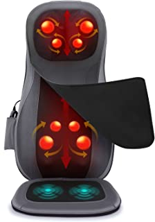 Naipo Back Neck Shiatsu Massage Seat Cushion Massage Chair Massager with Heat Rolling Kneading Vibration for Full Body Pai...