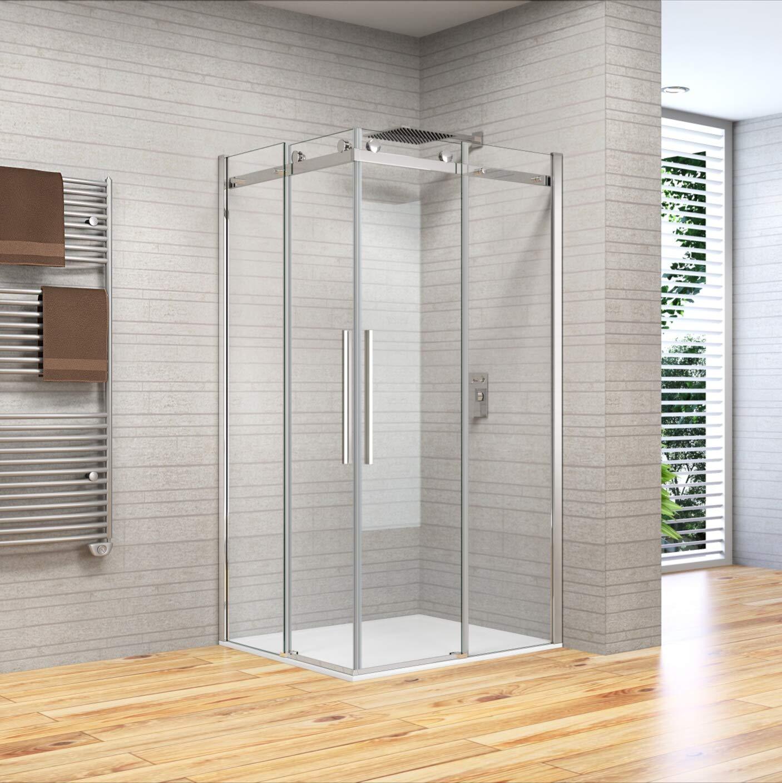 mampara de ducha 80 X 90 90 X 80 de cristal templado de 8 mm h.195, Anti Piedra caliza, Reversible, ASA de acero inoxidable: Amazon.es: Bricolaje y herramientas