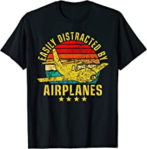 Easily Distracted By Airplanes Funny Vintage Retro Pilot T-Shirt