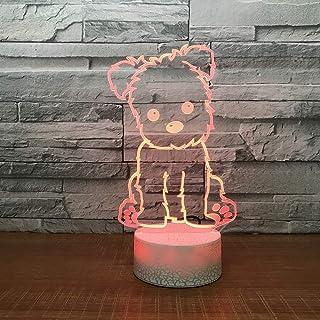 Nouveau intéressant 3D LED 7 Changement de Couleur noël veilleuse Chien Forme Chambre USB Belle Lampe de Bureau décor à la...