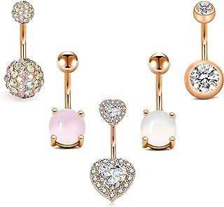 Rajnar Piercing All'ombelico In Acciaio Chirurgico 14G 10mm A Forma Di Cuore Diamante Boulder Strass Di Cristallo per Donn...