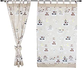 TupTam Cortinas con Trabillas para Habitación Infantil, Bebê Animales Beige, c. 155x95 cm
