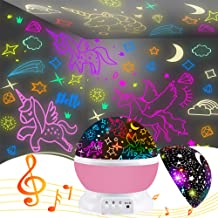 Night Light for Kids,Unicorn Gifts for Girls,Star Projector Gifts for Teenage Girls with Music 2 in 1 Popular Cool Toys Ch...