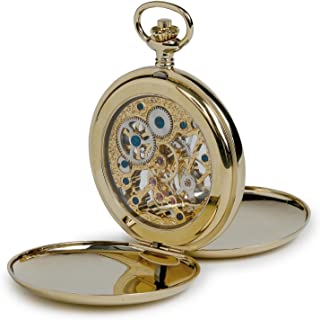 Vintage Pocket Watch with Chain by Rapport - Classic Oxford Hunter Pocket Watch with Skeleton Dial
