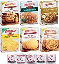 KRUSTEAZ Cookie Mix Variety Pack - Bundle of 6 Different Flavors - Triple Chocolate, Snickerdoodle, Peanut Butter, Meyer Lemon, Butter Vanilla, Oatmeal. Gift Set