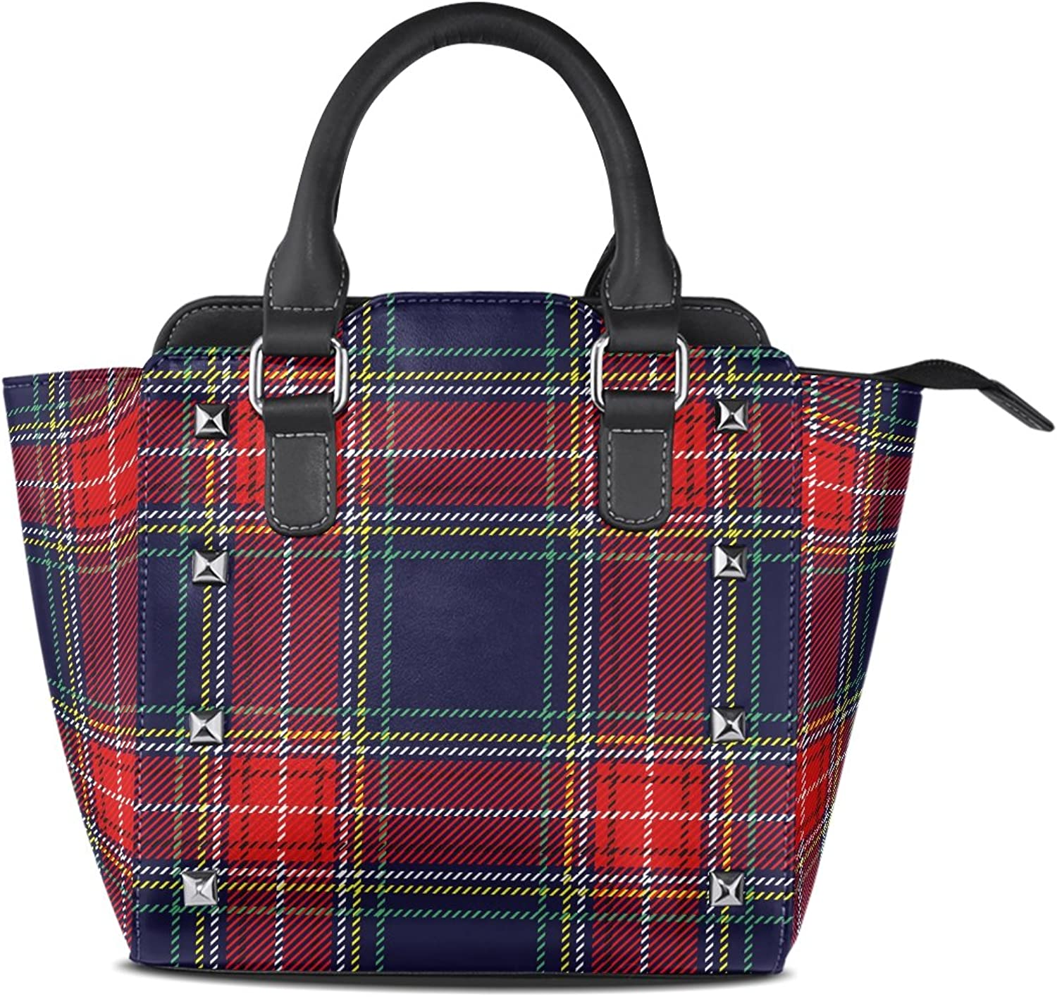 My Little Nest Women's Top Handle Satchel Handbag Traditional Dark bluee Red Tartan Plaid Stripes Ladies PU Leather Shoulder Bag Crossbody Bag