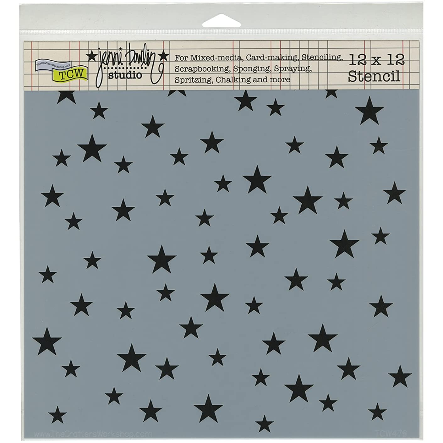 Crafters Workshop TCW-479 Random Stars Crafter's Workshop Template, 12-Inch by 12-Inch