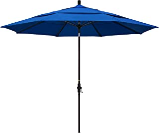 California Umbrella 11' Round Aluminum Pole Fiberglass Rib Market Umbrella, Crank Lift, Collar Tilt, Bronze Pole, Royal Blue Olefin