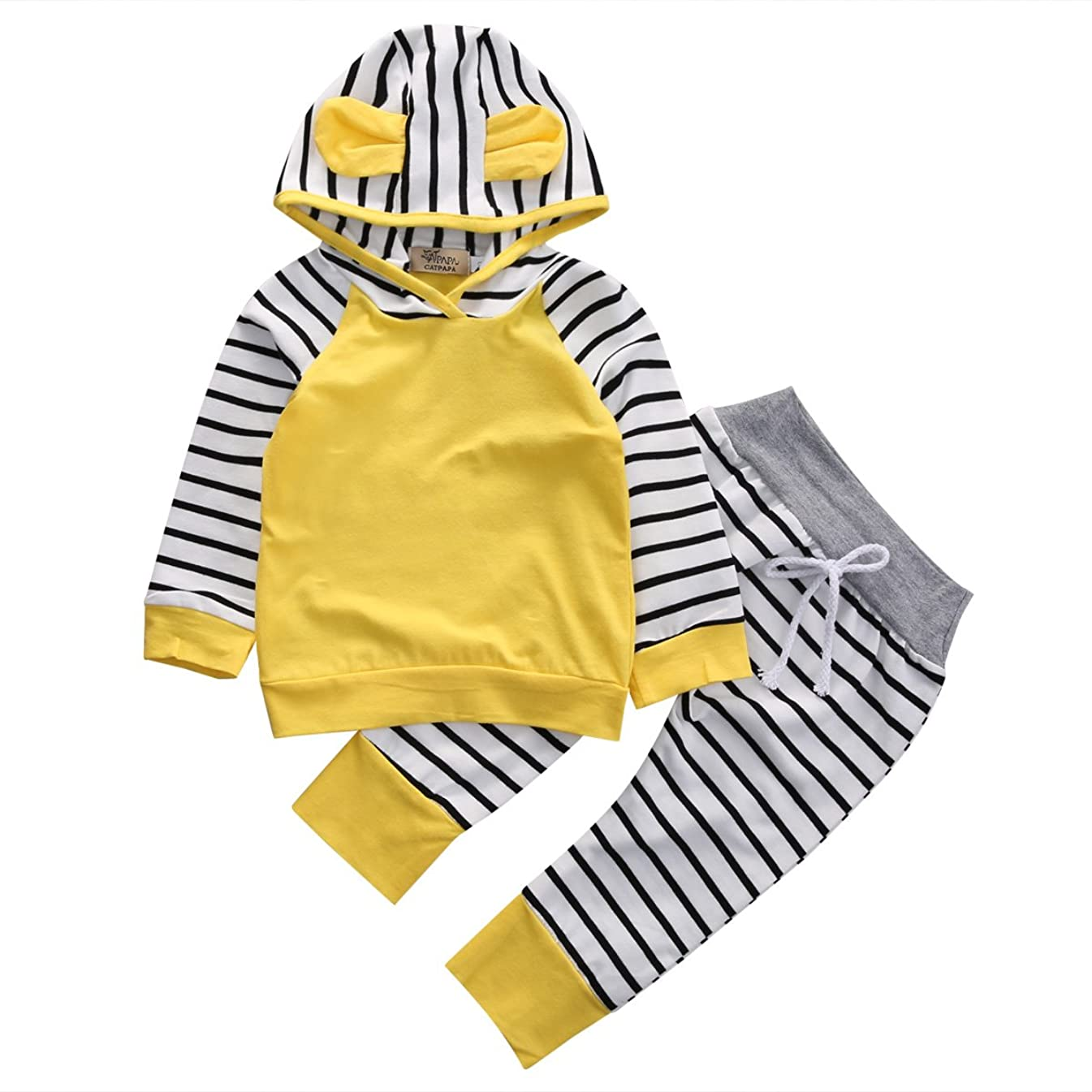 Infant Baby Boy Girl 2pcs Set Cute Hat Long Sleeve Hoodie+Striped Pants Outfit