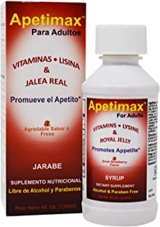 Apetimax Vitamins Lysine Royal Jelly Promotes Appetite Syrup for Adults (4oz)