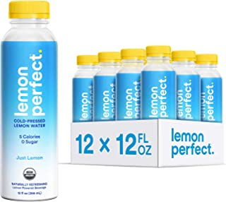 Lemon Perfect, Organic Cold-Pressed Lemon Water, Just Lemon (12-Pack), Full of Flavor, Hydrating Electrolytes, Essential A...